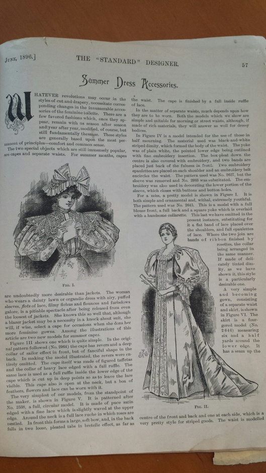 "Page 57, Summer Dress Accessories ""For the summer months, capes are undoubtedly more desirable than jackets.""--Good to know! Here I thought they were perfect for Fall. How silly of me!"